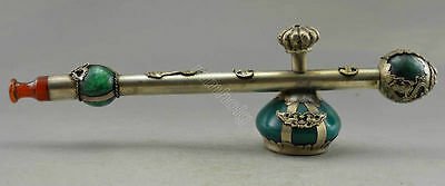 Exquisite CHINESE OLD SILVER COPPER INLAID JADE HANDWORK DRAGON SMOKING PIPE