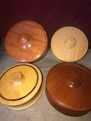 Four Elegant Turned Wooden Boxes American & English Ash,African,Brazil Mahogany