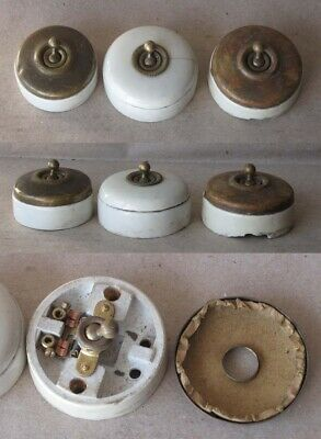 3 ANTIQUE FRENCH PORCELAIN ELECTRIC SWITCH / ca 1910s / RARE