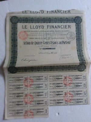 W94 Action ancienne : SA le Lloyd Financier action de quatre cents francs au por
