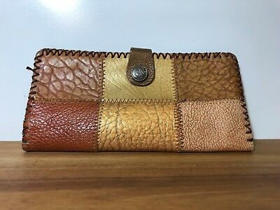 Vintage Leather Patch Work Hand Made Purse Wallet Taurus Button