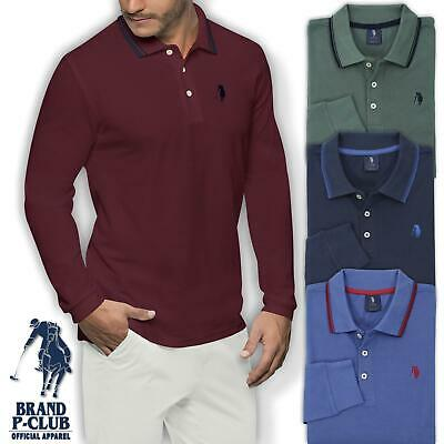 Polo Uomo Manica Lunga 100% Cotone Piquet P-CLUB Regular Fit M L XL XXL 3XL
