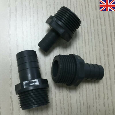 """25mm Hose Tail Plastic Hosetail Fitting For Pond Pumps 1/"""" BSP Male Thread"""