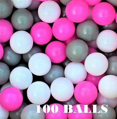 Plastic Balls  x 100 for Ball Pits Childrens Kids Multi-Coloured Toys Play Pool