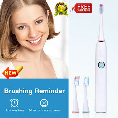 Waterproof Sonic Electric Toothbrush USB Rechargeable 5 Modes 2 Brush Heads 3.7V