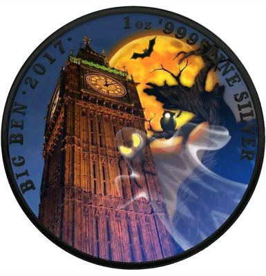 "2017 UK ""Landmarks of Britain-Big Ben Halloween"" Colorized 1oz .999 - Box & COA"