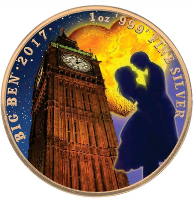 2017 UK Landmarks of Britain-Big Ben Valentine's Day Colorized 1oz .999, Box-COA