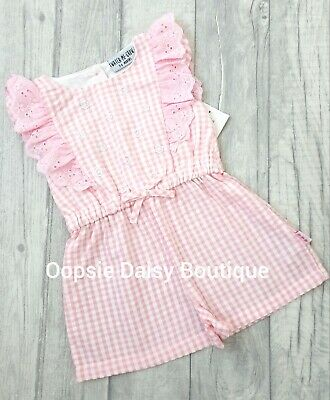Girls Pink Gingham & Lace Playsuit All In One ☆