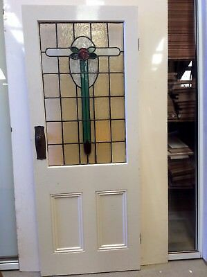 Leadlight Rose Three  Panel Door