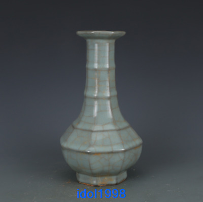 China old antique Song Guan kiln Green glazed powder Xianwen vase