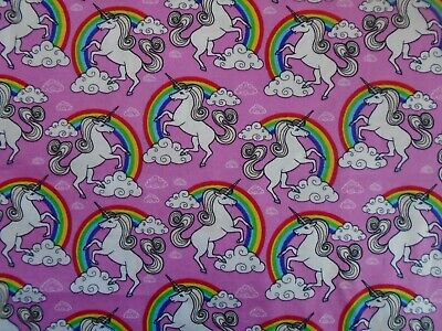 Unicorn Rainbow Pink Fabric 100% Cotton Rose & Hubble Unicorns Fabrics Material