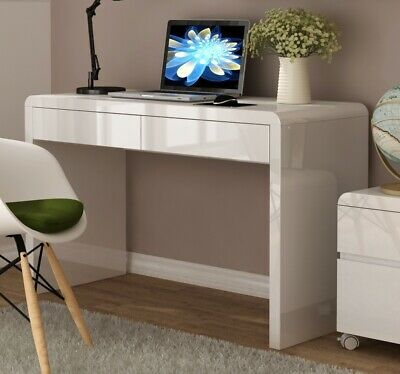White high gloss lacquered 2 drawer desk for home or office