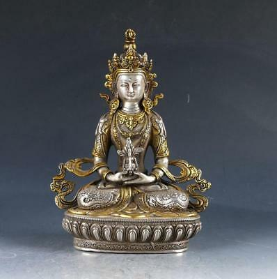 Chinese OLD TIBET Silver Copper Gilt Handwork Carved Buddha Statue