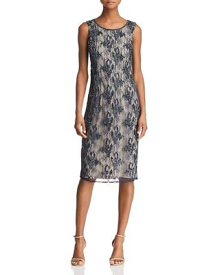 $289 Adrianna Papell Womens Blue Embellished Beaded Sequined Party Dress Size 12