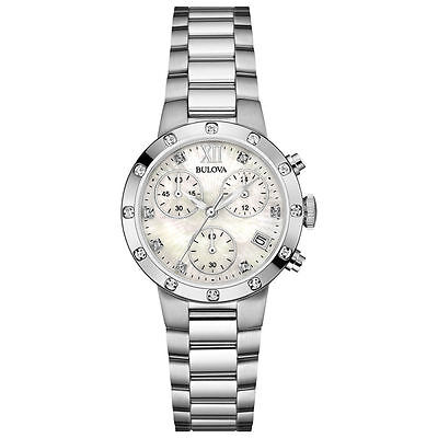 Bulova Ladies Stainless Diamond Watch Stainless 96R202 Authorized Dealer