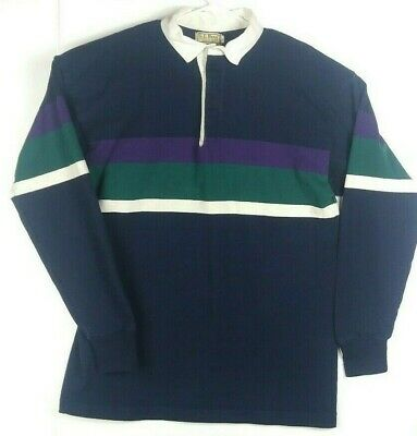 243e4fae Vintage LL Bean Large Striped 100% Cotton 3 Button Long Sleeve Rugby Polo  Shirt