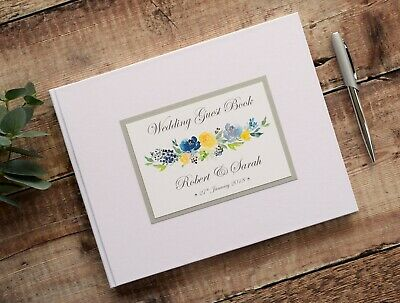 Personalised Wedding Guest Book. Floral Print Wedding Guest Signing Book.