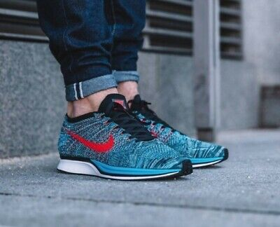 save off 9f2e4 72ca0 SZ 11 Nike Flyknit Racer Neo Men s Shoes Turquoise Crimson 526628-404