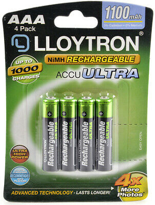 4 x Lloytron 1100 mAh AAA Rechargeable Ni-MH Batteries Phone Remote Camera