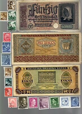 Nazi Germany And Occupied Europe Banknote, Coin And Stamp Set   # 68