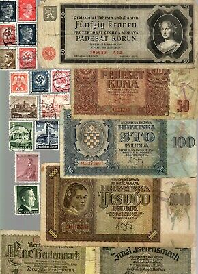 Nazi Germany And Occupied Europe Banknote, Coin And Stamp Set  # 144
