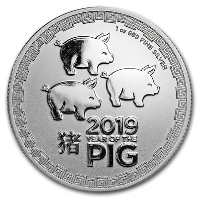 2019 New Zealand Lunar Year of the Pig $2 Gem BU 1 oz Silver Coin in Capsule