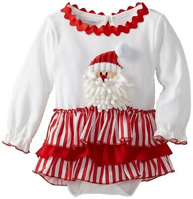 Mud Pie Girls Christmas Santa All-In-One Dress , Red, 6-9M
