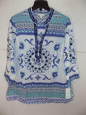 7d55ef28106 Charter Club Women s Plus Cotton 3 4 Sleeve Beaded Tunic Top NWT Size 1X A5