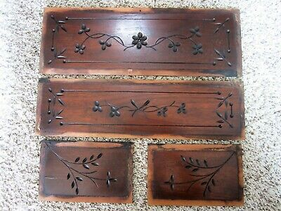 4 Eastlake Spoon Carved Walnut Furniture Panels Victorian Plaques Wood Carvings