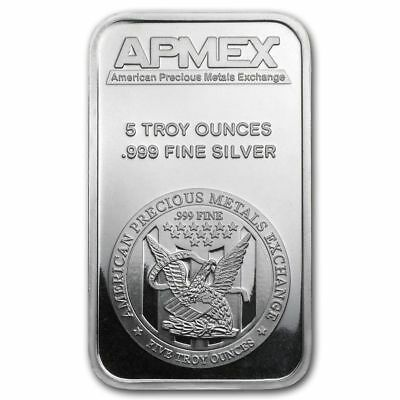 New Uncirculated Big 5 Troy Ounce .999 Fine Silver Bar , Apmex American Bullion.