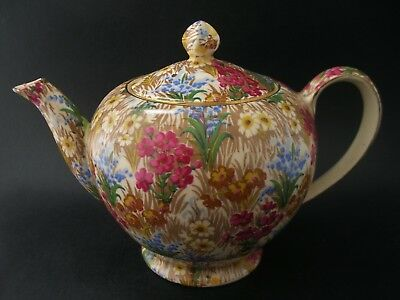 ROYAL WINTON MARGUERITE CHINTZ Vintage English China TEAPOT Gold Albans 4cup