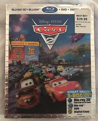 Disney Pixar - Cars 2 (Blu-ray/DVD, 2011, 5-Disc Set, Blu-ray 3D) NEW