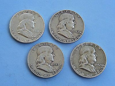 Lot of four (4) half dollars Franklin coins 1951-52-53-54, 90% SILVER.