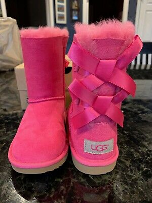 013750b5a9d NIB UGG AUSTRALIA Bailey Bow II Girls Bright Pink Boots Toddler Size 13 EU  30