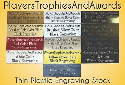 Nameplate .75 x 4 THIN PLASTIC name plate CUSTOM laser engraved tag Proof inc