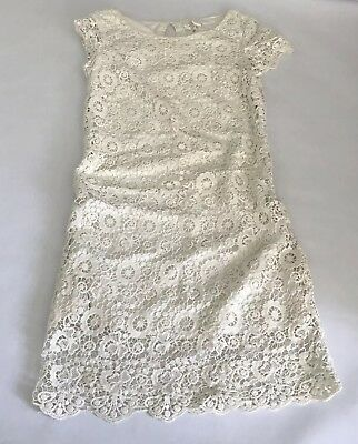 ccf48d4c6b2b Anthropologie Moulinette Soeurs Horkelia Shift Dress Ivory Cotton Lace Size  0