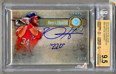 """2013 Topps Five Star Quotable Autographs BRYCE HARPER """"220"""" Auto 7/10 BGS 9.5/10"""