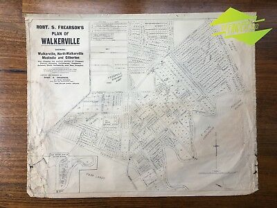 ANTIQUE c.1910 LINEN-BACKED ROBERT S. FREARSON MAP PLAN OF WALKERVILLE ADELAIDE