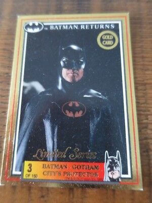 1992 Australia Dynamic Batman Returns Movie Gold Card No. 3 Batman Gotham