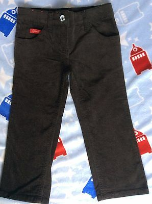 Esprit boy's brown cord Size 2 long pants zip front adjustable waist GUC
