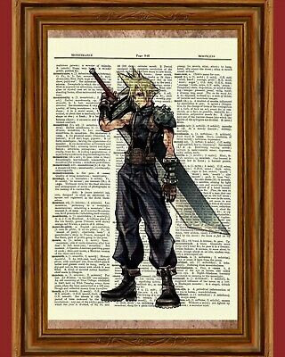 Cloud Strife Dictionary Art Print Final Fantasy Game Kingdom Hearts Picture