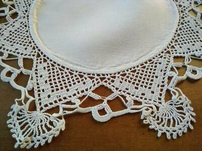 Outstanding Intricate White Hand Crochet on Linen Antique Doily