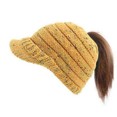 Women Hat Ladies Knit Bun Ponytail Beanie Hole Outdoor Gifts Xmas Baggy Stretch