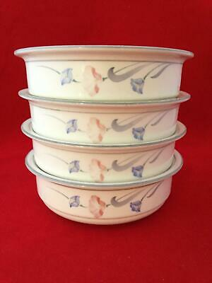 Beautiful Set of 4 Lenox Glories in Grey 6 1/4' Soup Cereal Bowls FREE SHIPPING