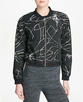 91fd0be974a80d DKNY Women Sport Metallic-Print Cropped Bomber Jacket Black Size S NEW with  tag