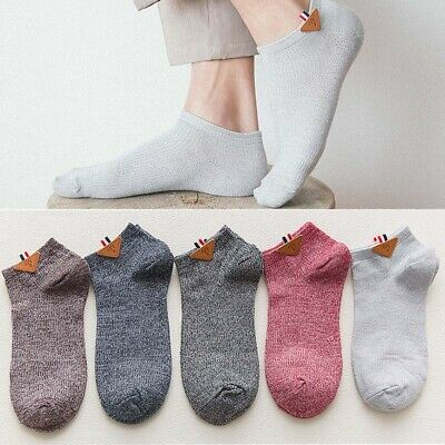 5 Pairs Mens Cotton Socks Lot Crew Ankle Low Cut Solid Color Casual Dress Socks
