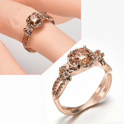 Fashion Jewelry Ring Champagne Topaz Wedding Ring 10KT Rose Gold Filled Size6-10