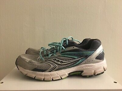 SAUCONY GRID COHESION 9 women's size 9 Silver Navy Teal Blue