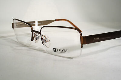 TIGER OF SWEDEN Men's Copper Color Half Rimless Eyeglass Frames Glasses Large