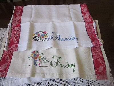 Two Pure Linen Teatowels With Embroidery And Australiana Edging